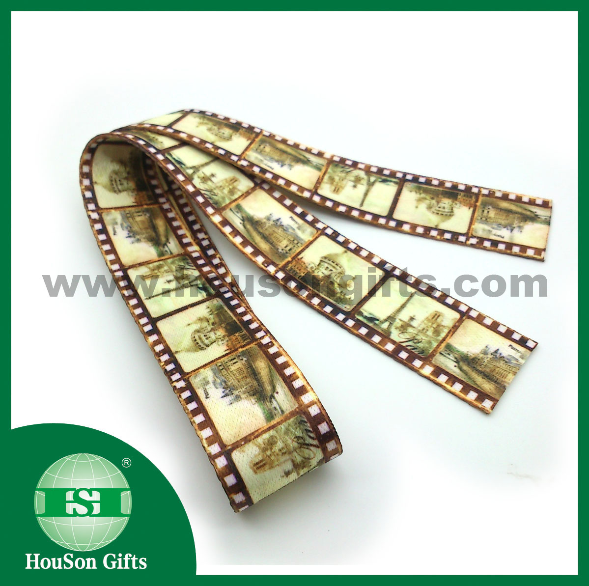 Heat transfer printed camera strap