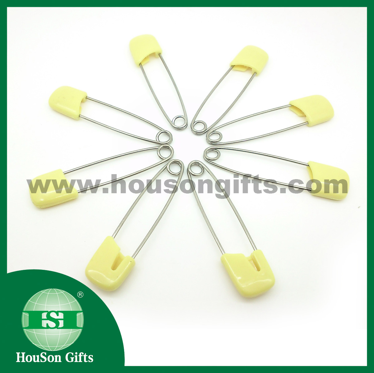 Yellow plastic head stainless steel safety pins