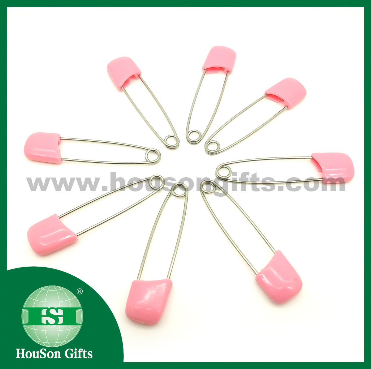 Pink stainless steel safety pins