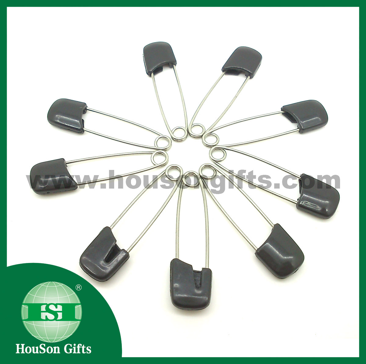 Black safety pins