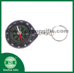 Black round compass with keychain