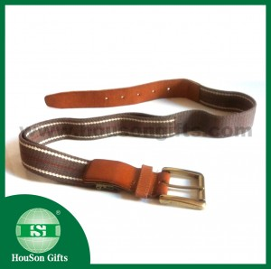 webbing waist belt with leather