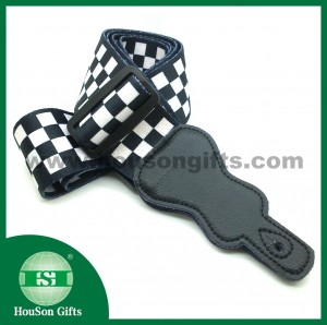 Black white check guitar strap