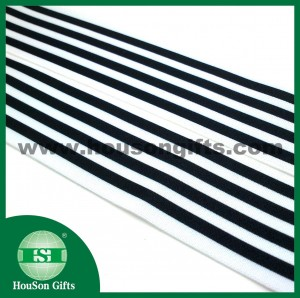 Printed black white stripes elastic