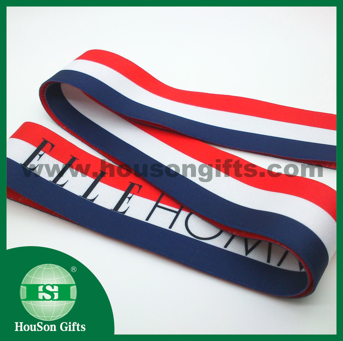Navy red white stripe elastic band
